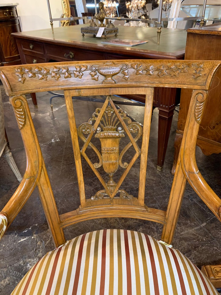 Neoclassical 19th Century Carved Fruitwood Armchairs For Sale