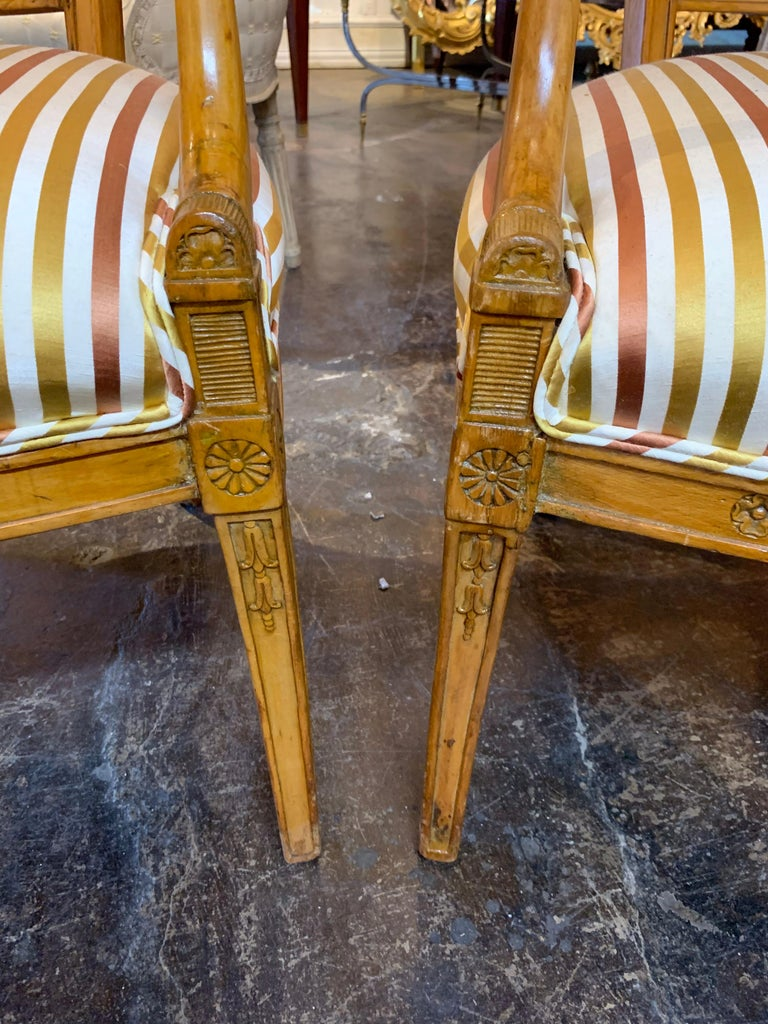 English 19th Century Carved Fruitwood Armchairs For Sale