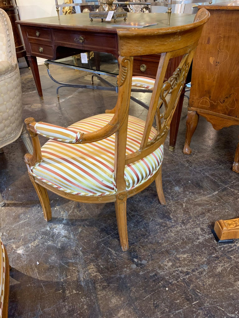 19th Century Carved Fruitwood Armchairs In Good Condition For Sale In Dallas, TX