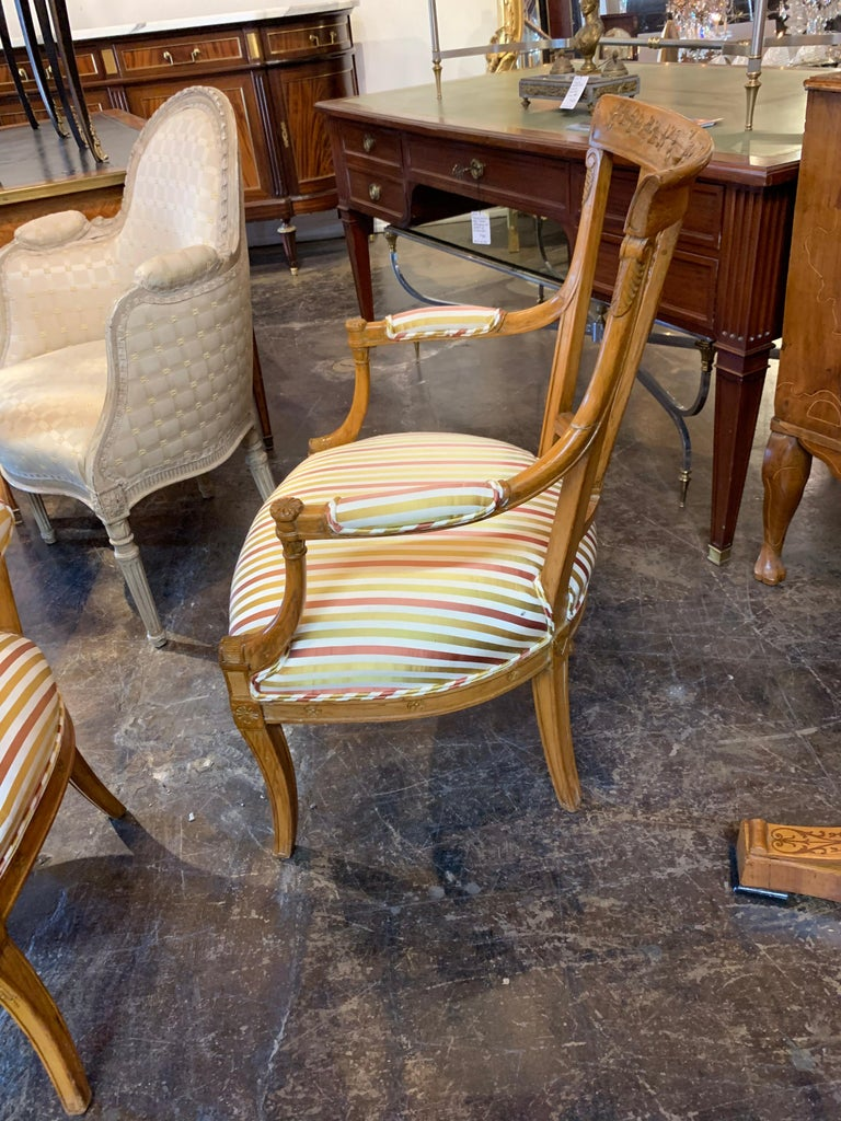 19th Century Carved Fruitwood Armchairs For Sale 1