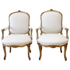 19th Century Carved Giltwood French Louis XV Style Open Armchairs