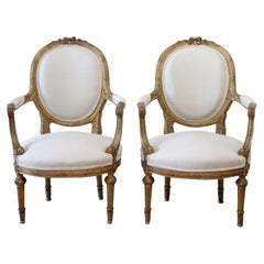 19th Century Carved Giltwood French Louis XVI Style Open Armchairs