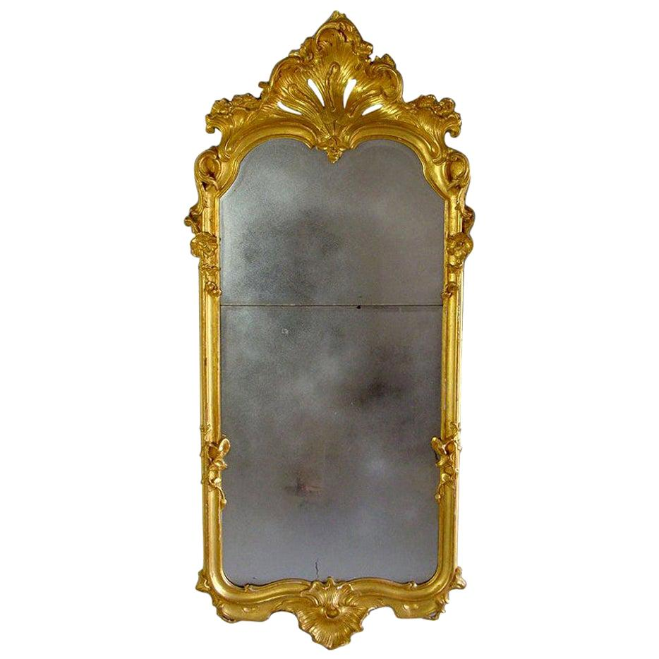 19th Century Carved Giltwood Pier Glass Mirror