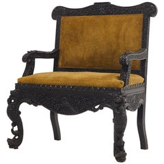 19th Century Carved Hardwood Anglo Indian Sofa in Suede
