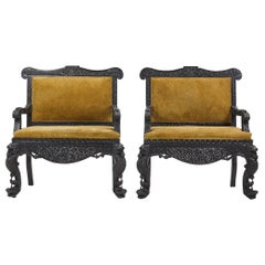 19th Century Carved Hardwood Pair of Anglo Indian Sofas in Suede