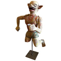 19th Century Carved Indian Carnival God Figure, Polychrome Paint on Stand