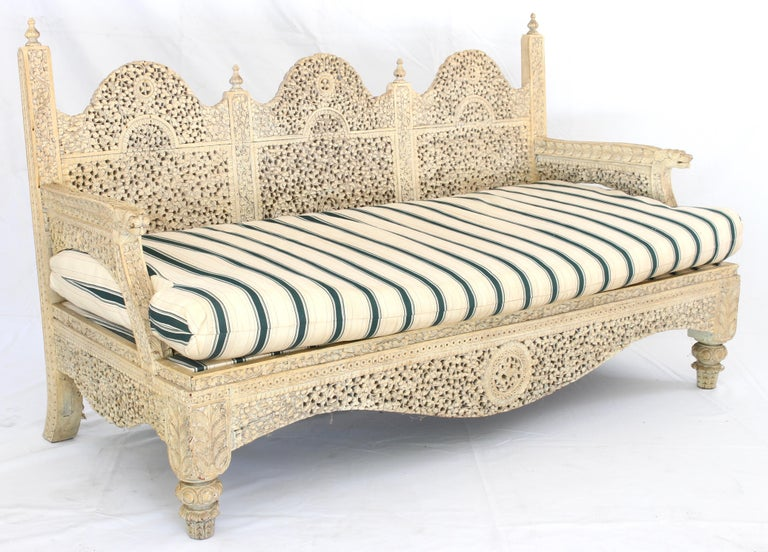 Anglo Raj Carved Indian Settee For Sale