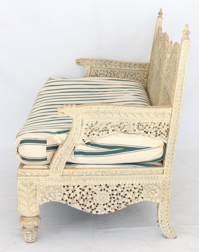 Wood Carved Indian Settee For Sale