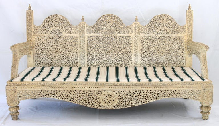 Carved Indian Settee For Sale 1