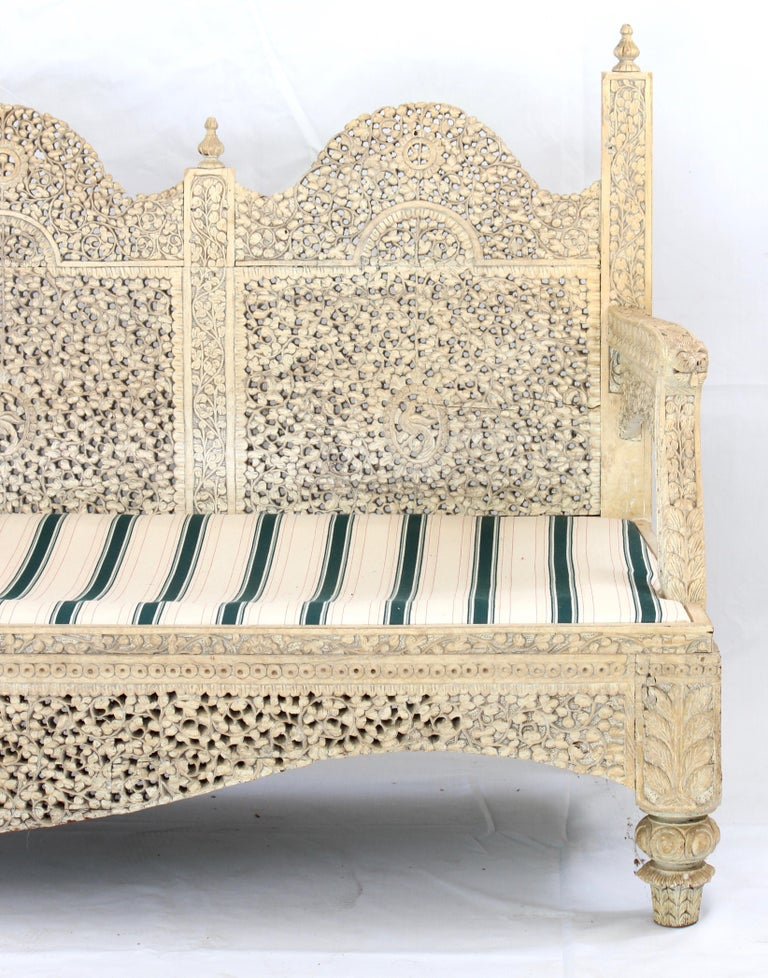 Carved Indian Settee For Sale 3