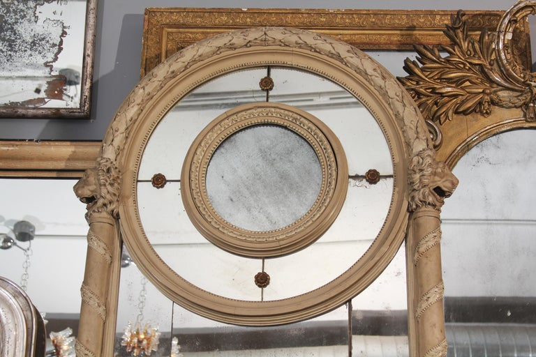 19th Century Carved Italian Mirror with Lions In Good Condition For Sale In Seattle, WA