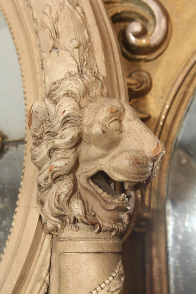 19th Century Carved Italian Mirror with Lions For Sale 4