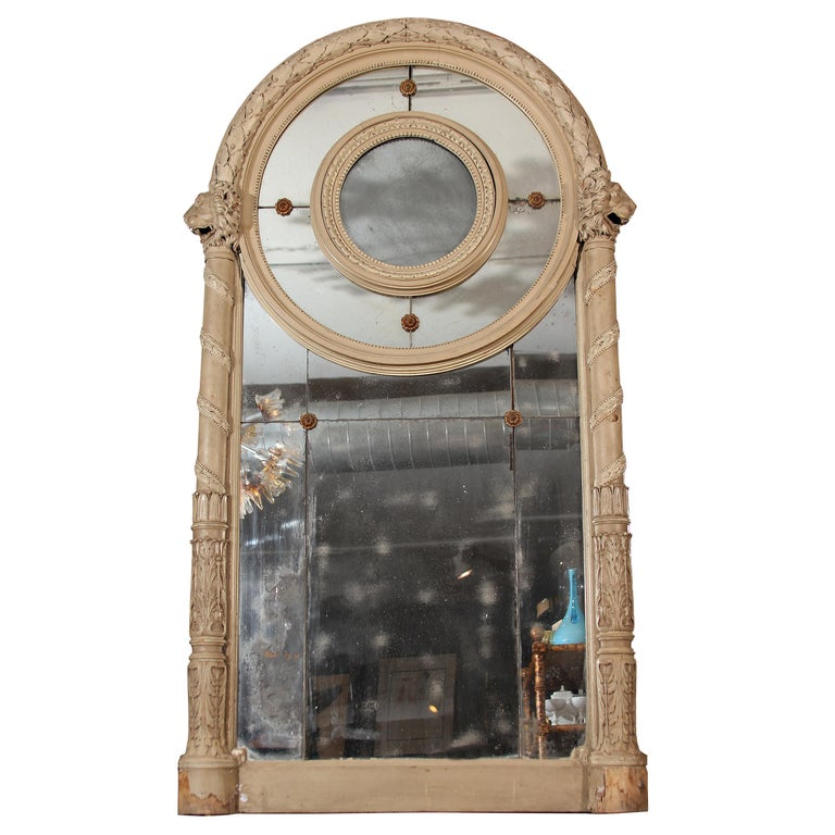 19th Century Carved Italian Mirror with Lions For Sale