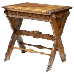 19th Century Carved Italian Walnut and Pine Occasional Table