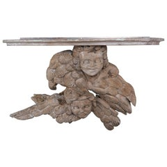 19th Century Carved Italian Winged Cherub Shelf