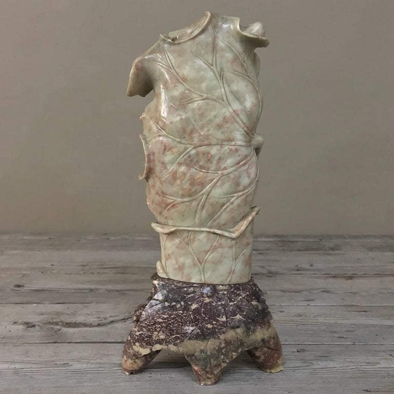19th Century Carved Jade Stone Vase For Sale 4