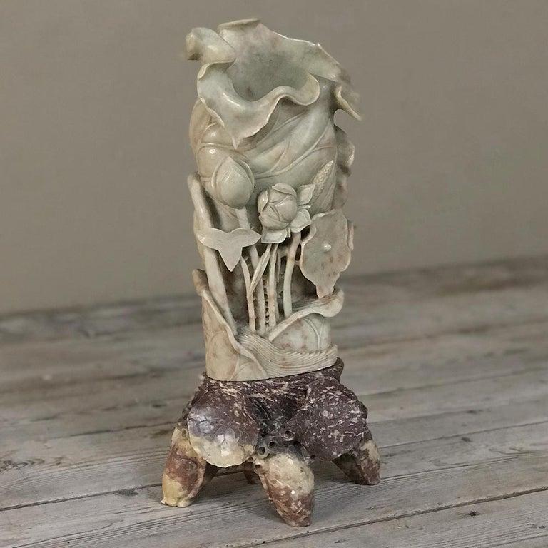 Japonisme 19th Century Carved Jade Stone Vase For Sale