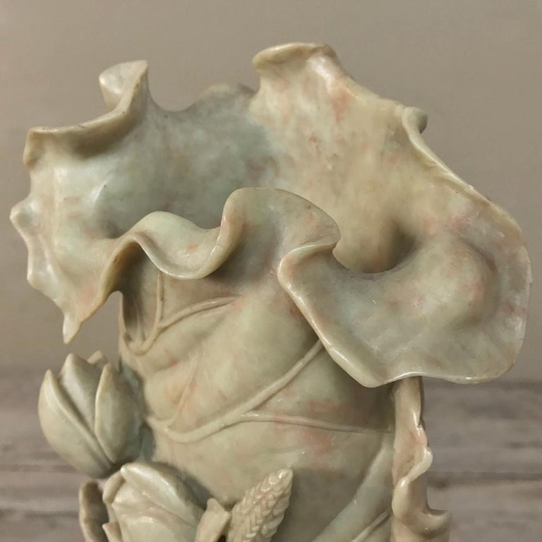 19th Century Carved Jade Stone Vase For Sale 1
