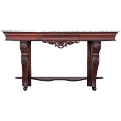 19th Century Carved Mahogany Console with Marble Top and Central Drawer