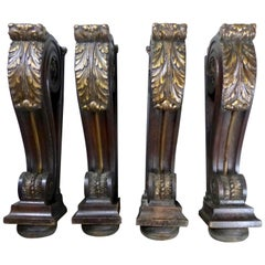 19th Century Carved Mahogany Corbels with Gilt Finish