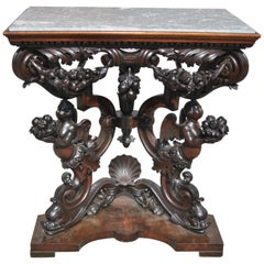 19th Century Carved Mahogany Marble-Top Hall Table