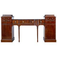 19th Century Carved Mahogany Pedestal Sideboard in the Adams Taste