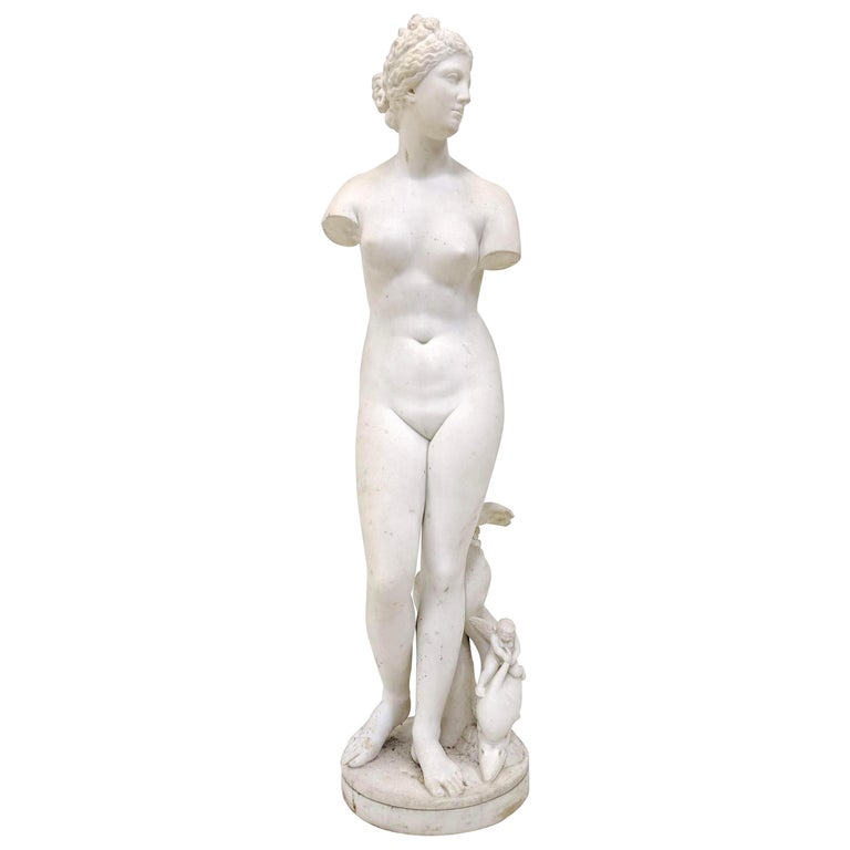 19th Century Carved Marble Statue For Sale