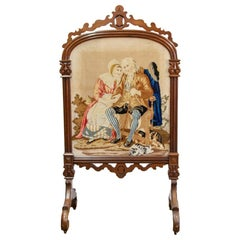 19th Century Carved Needlework Fire Screen
