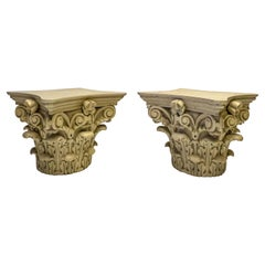 19th Century Carved Neo-Classical Style Capitals, Pair