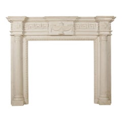 19th Century Carved Neoclassical Statuary Marble Fire Surround
