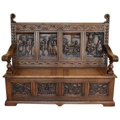 19th Century Carved Oak Box Settle