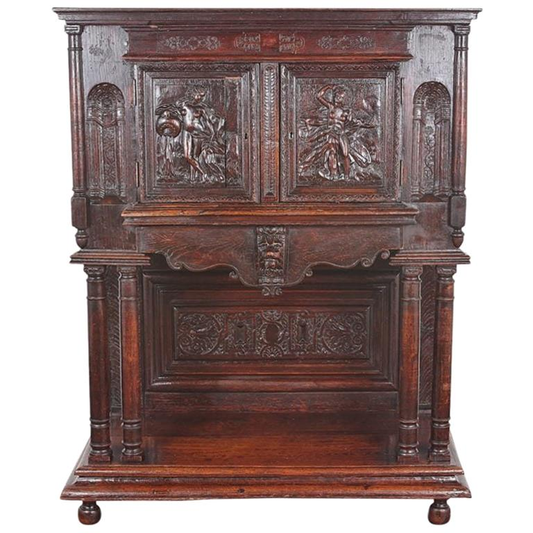 19th Century Carved Oak Cabinet on Stand
