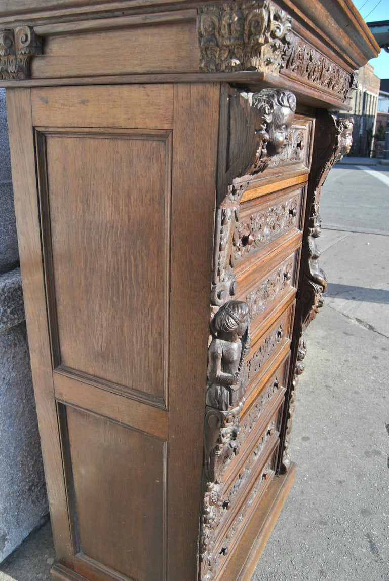 19th Century Carved Oak English Wellington Chest For Sale 6