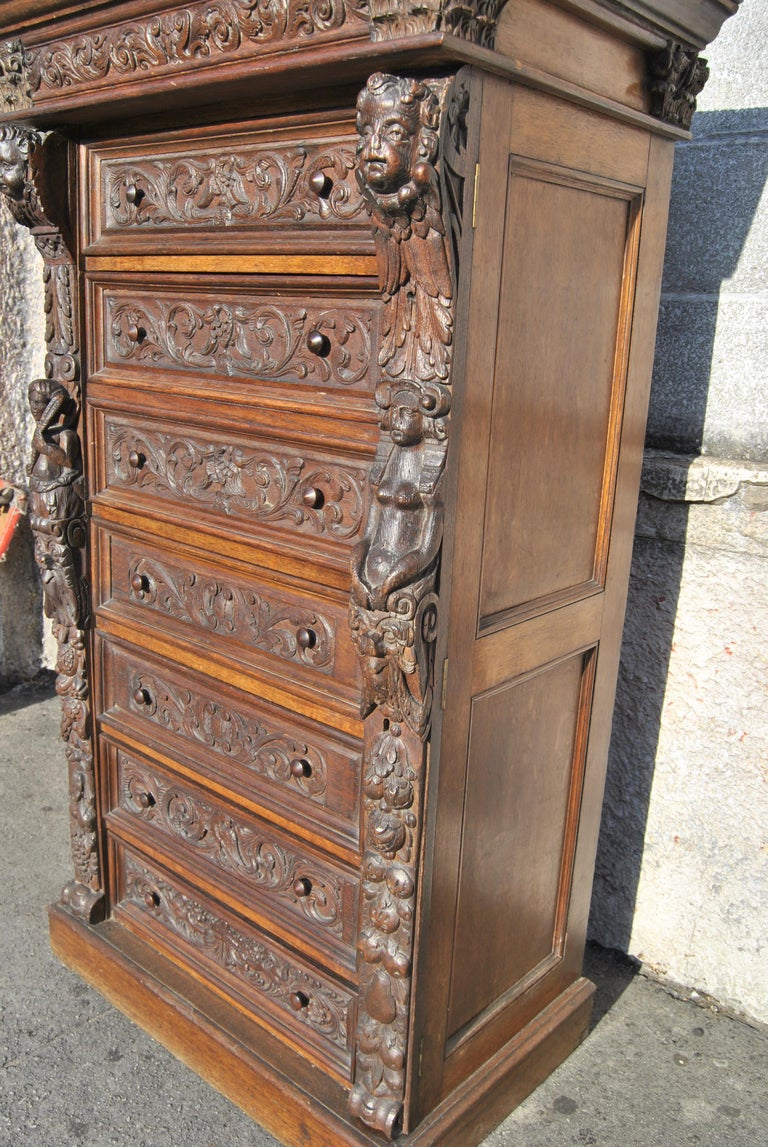 19th Century Carved Oak English Wellington Chest For Sale 3