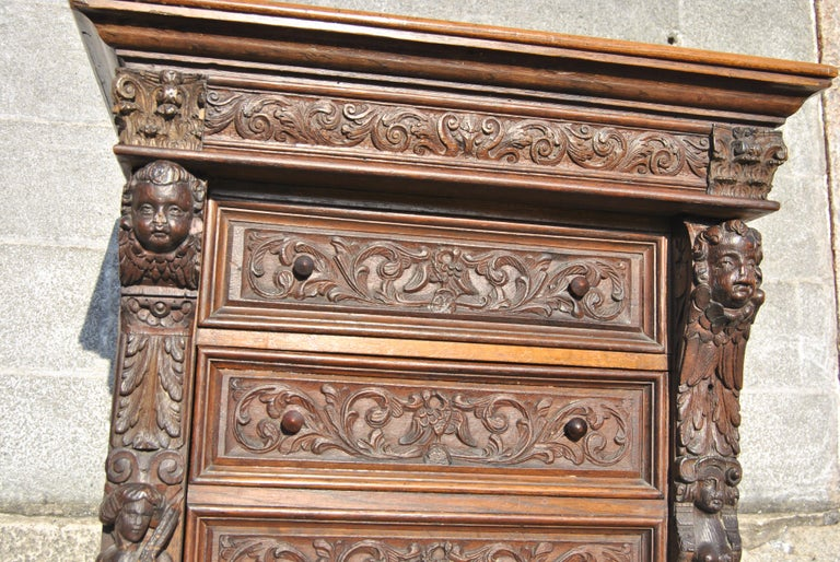 19th Century Carved Oak English Wellington Chest For Sale 4