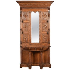 19th Century Carved Oak Hall Stand