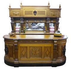 19th Century Carved Oak Huntsman's Bar