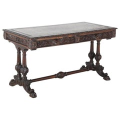 19th Century Carved Oak Library Table