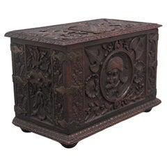 19th Century Carved Oak Log Box