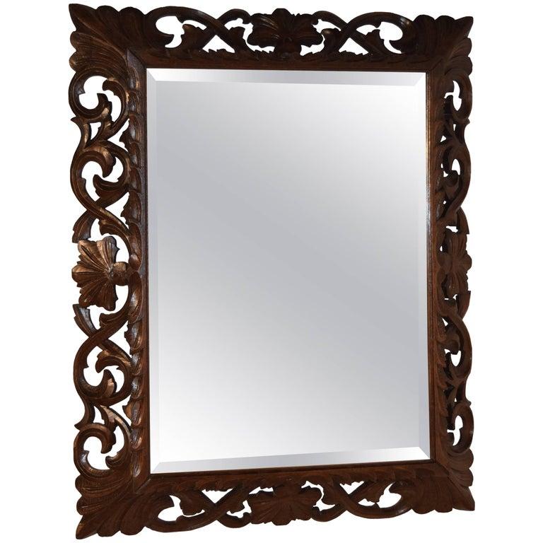 19th Century Carved Oak Mirror