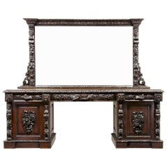 19th Century Carved Oak Mirrored Sideboard of Grand Proportions