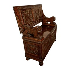 19th Century Carved Oak Monks Bench Settle, Hall Table