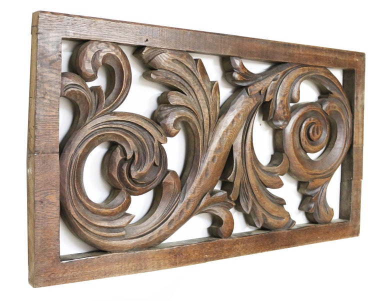 This stunning decorative carved oak panel, circa 1890, is in excellent condition for its age.  Measures: Height 58 cm  Width 105.5 cm  Depth 4.2 cm  Weight 12 kg.