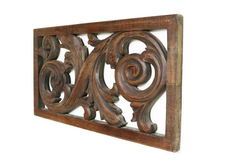 19th Century Carved Oak Panel In Fair Condition For Sale In Wormelow, Herefordshire