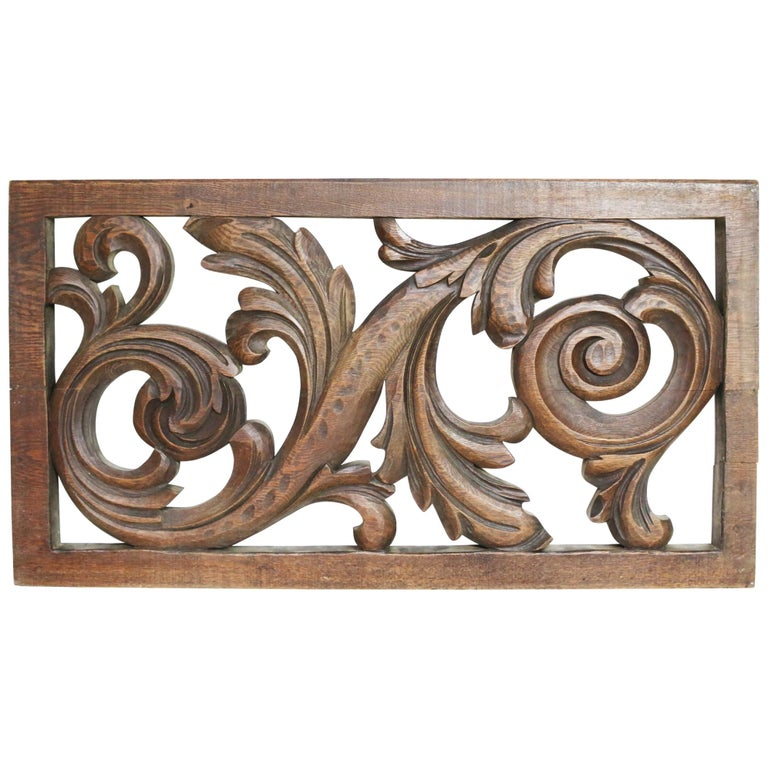19th Century Carved Oak Panel For Sale