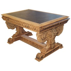 19th Century Carved Oak Renaissance Style Desk with Bluestone Top from France