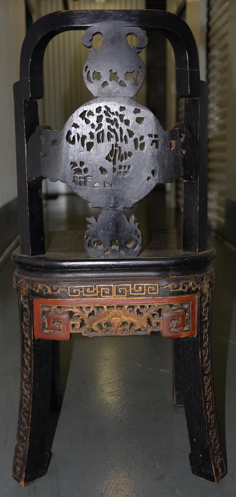 19th Century Carved & Painted Chinese Side Chair For Sale 4