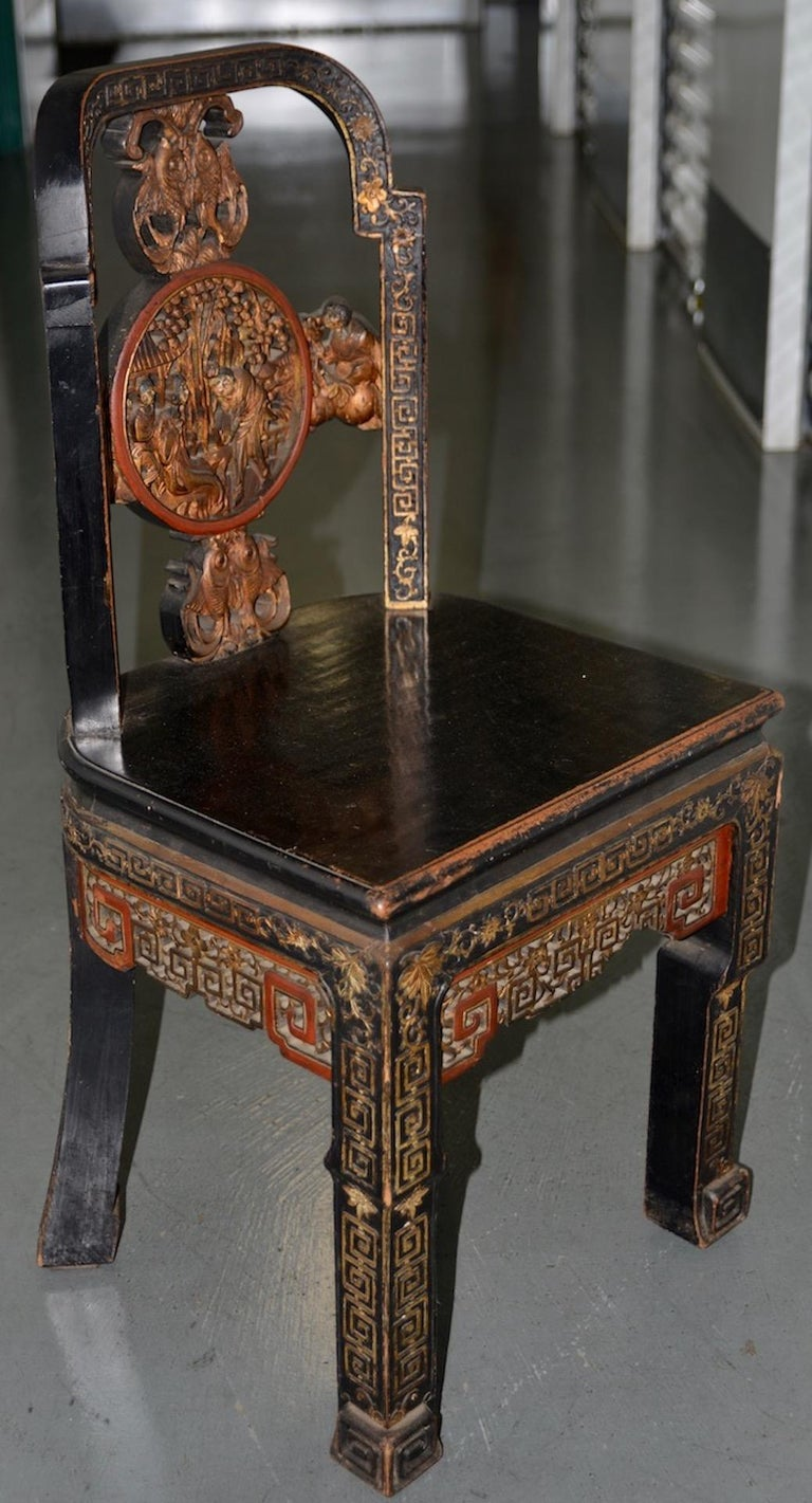 Chinese Export 19th Century Carved & Painted Chinese Side Chair For Sale