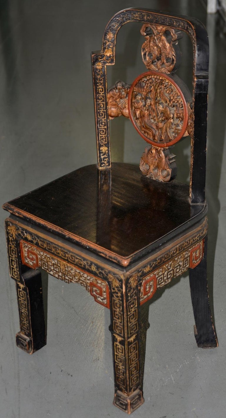 Hand-Carved 19th Century Carved & Painted Chinese Side Chair For Sale