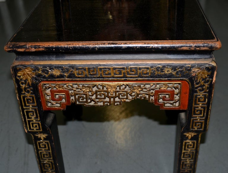 Wood 19th Century Carved & Painted Chinese Side Chair For Sale